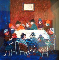 Les Sorcieres Oil on Canvas 59 x 59 cms