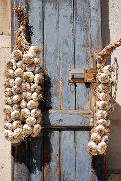 garlic braid. I'll take the garlic and the crusty wood door!