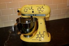 Hilariously and adorably geeky... Molecule Graphic for your Kitchen Mixer by FlipFlopGraphics, $34.95
