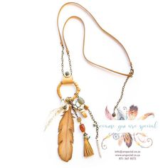 Bohemian necklace feather and leather