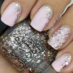 Pale pink nails with glitter                                                                                                                                                                                 More