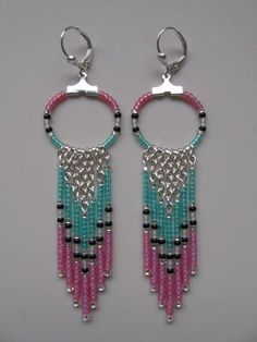 Seed Bead Chain Hoop Earrings  Opal Pink/Aqua by pattimacs on Etsy, $18.50