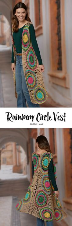 Rainbow Circle Vest crocheted in Fashion Soft. Crochet a vest that you will absolutely love wearing! First you crochet the circles joining them together with a joinas- you-go technique. Then you fill in with a meshy lace filler. It's simply stunning!