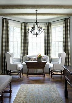 Browse bay window ideas images to bay window curtains, bay window treatments, bay window, bay window seat and bay window & window seat for your bay window, study or bay windows. Gingham Curtains, Bay Window Curtains, Window Blinds, Linen Curtains, Bedroom Drapes, Room Window, Master Bedroom, Rideaux Du Bow Window, Check Curtains