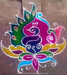 Artistically-Colorful 'Peacock-Rangoli' for 'Diwali' - The Indian Festival-of-Lights