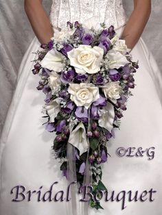 bridal bouquet package silk flowers cascade bridesmaid bouquets groom boutonniere corsage Bridal  Bouquet BEAUTIFUL  PURPLE PASSION. $129.00, via Etsy.