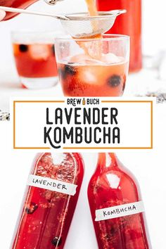 How to make a delicately floral lavender kombucha! With just dried lavender buds and a berries (or sugar), your kombucha is transformed into a delightful flavor straight from the south of France! Kefir Probiotic, Probiotic Drinks, Kombucha Flavors, Kombucha Recipe, Lavender Drink, Lavender Buds, Fermentation Recipes, Homebrew Recipes, Best Non Alcoholic Drinks