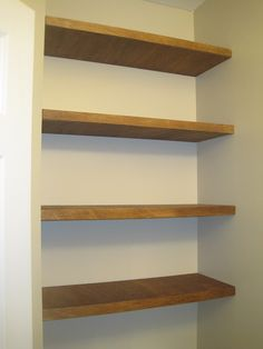 Designed To Dwell: Adding Storage In A Tiny Bathroom - DIY floating shelves