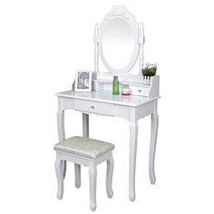 Songmics Tocador con cajones, espejo y taburete Mesa de maquillaje, Blanco, RDT75W Songmics http://www.amazon.es/dp/B00XKJLLRE/ref=cm_sw_r_pi_dp_6ibzwb0PPNAVT