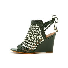 Mulberry - Richmond Wedge in Ivy & White Matte Nappa