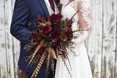 Dreamy fall outdoor wedding in Minnesota. The brides bouquet was stunning with pine cones and pheasant feathers Fall Wedding Gowns, Fall Wedding Flowers, Fall Flowers, Flower Bouquet Wedding, Wedding Dresses, Trendy Wedding, Our Wedding, Dream Wedding, Wedding Blue