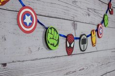 Planning an Avengers party? You are in luck! This Avengers inspired Garland is sure to set the stage. Hulk Birthday Parties, Superhero Birthday Party, Boy Birthday, Superhero Party Games, Iron Man Birthday, Superhero Party Decorations, Birthday Garland, Avengers Birthday, Captain America