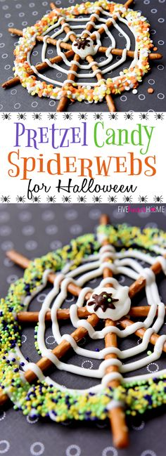 Pretzel Candy Spiderwebs ~ a fun and easy Halloween treat halloween snacks recipes Halloween Desserts, Halloween Fingerfood, Halloween Goodies, Halloween Tags, Halloween Food For Party, Halloween Birthday, Easy Halloween, Halloween Cupcakes, Halloween Camping