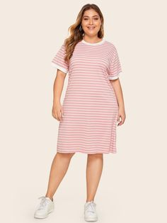 To find out about the Plus Contrast Trim Striped Tee Dress at SHEIN, part of our latest Plus Size Dresses ready to shop online today! Plus Size Fashion For Women, Plus Size Womens Clothing, Clothes For Women, Casual Plus Size Outfits, Plus Size Dresses, Pink Outfits, Cute Outfits, Going Out Outfits, Tee Dress