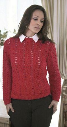 Blusa Vermelha em Ponto Ajurado com Fio Alfazema