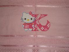 Toalha de Rosto Hello Kitty Letra K