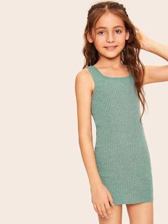 To find out about the Girls Rib-knit Tank Dress at SHEIN, part of our latest Girls Dresses ready to shop online today! Preteen Girls Fashion, Young Girl Fashion, Teen Girl Outfits, Cute Outfits, Teenage Outfits, Tween Girls, Fashion Clothes, Fashion Outfits, Style Clothes