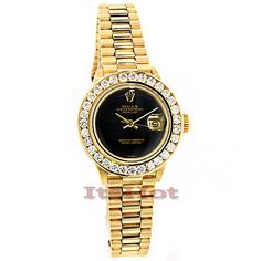 This Rolex 18K Yellow Gold Datejust Ladies Custom Diamond Watch features 2.50 carats of genuine diamonds, an 18K Yellow gold case and an 18K Yellow gold  band. This Rolex Ladies Diamond Watch showcases a black dial and a date display at the 3 oclock position. Please note: this custom Rolex diamond watch is pre-owned in excellent condition and comes with a full year warranty from ItsHot.com.