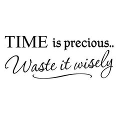 Time is precious... waste it wisely