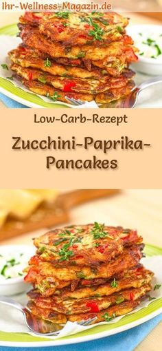 Low Carb Zucchini-Paprika-Pancakes – herzhaftes Pfannkuchen-Rezept Low Carb Recipe for Zucchini Pepper Pancakes: Low Carb, Hearty Pancakes – Healthy, Low Calorie, No Corn Flour carb Slaw Recipes, Beef Recipes, Vegetarian Recipes, Mexican Recipes, Italian Recipes, Low Carb Recipes, Healthy Recipes, Vegan Coleslaw, Low Carb Pancakes