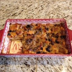 Eggless Bread Pudding: Being one of the millions allergic to poultry I came up with this so I  could have bread pudding too.  The big hurdle was the eggless custard.