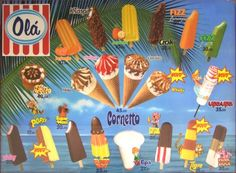 Olá ice cream (from Portugal) Perna de Pau is still one of my favorites! Vintage Advertising Posters, Vintage Advertisements, Vintage Ads, Vintage Posters, Ice Cream Prices, Ice Scream, Ice Cream Van, The Old Days, Old Ads