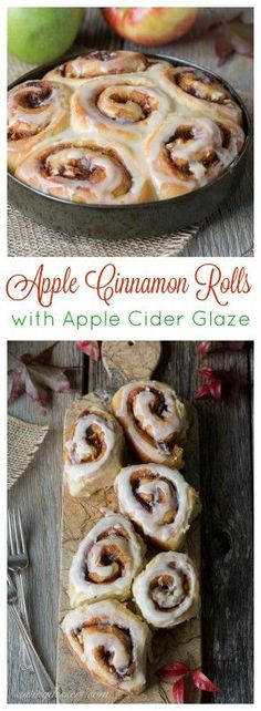 Apple Cinnamon Rolls with an Apple Cider Glaze - not too sweet but great apple flavor!  | www.savingdessert.com