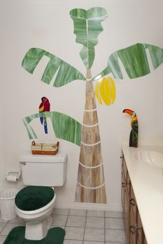 Custom mosaic banana tree with parrot can be made to order and shipped with easy installation instructions!  All stained glass.  Price:  varies depending on size. Contact Lweeks@louannweeks.com