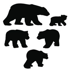 Polar Polar bears silhouette collection with cub Royalty Free Stock Vector Art Illustration Baby Silhouette, Silhouette Images, Animal Silhouette, Mermaid Silhouette, Artic Animals, North American Animals, Bear Tattoos, Scroll Saw Patterns, Bear Cubs