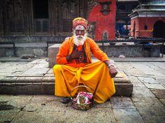 Sadhu, Holy Man in Kathmandu, Nepal - Travel - Photography - Art - Home Decor - Wall Art  - Orange