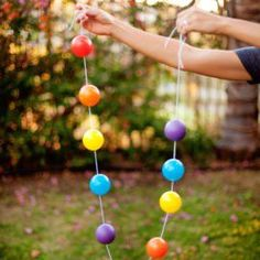 rainbow plastic ball garland