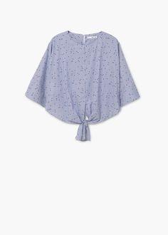 Knotted-hem cotton blouse | MANGO