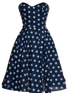 Retro Navy Blue Polka Dot Dress UK 10