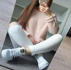 Fashion - White Knee-Ripped Denim Jeans, adidas Superstar Originals Shoes & Baby Pink Knitted Jacket/Top