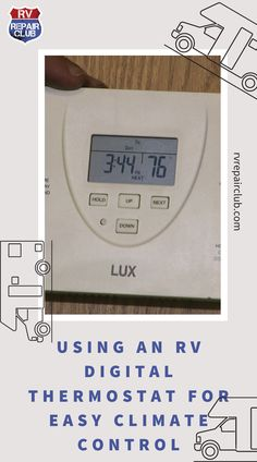 A programmable RV digital thermostat allows you to set the temperature in the RV to a certain level and have it run automatically. This means you can set the RV digital thermostat to a certain temperature for different times of the day and different days of the week. You can easily program it to kick on just before you arrive back to the unit and turn off automatically when you are not expected to be there. Rv Videos, Climate Control, Rv Interior, Off The Grid, Cooking Timer, Camper, Outdoors, The Unit, Club
