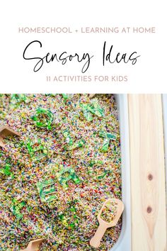 Sensory activities for preschoolers + grade school kids. 11 fun activities to do at home. Make leaning at home easier with these new ideas to support moms, dads and caregivers. Download the worksheets included in the blog post. #sensoryactivity #sensorybin #homeschool #learningathome Sensory Activities For Preschoolers, Rainy Day Activities, Indoor Activities For Kids, Kids Learning Activities, Spring Activities, Homeschool Supplies, School Kids, Sensory Play, Worksheets