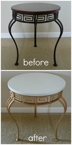 Accent Table Makeover with Pale Gold Metallic Paint by Modern Masters | Project by The Blue Eyed Dove
