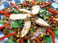 Spicy Warm Chicken Salad -- I plan to do this with Rudy's rub instead of the soup mix on the chicken.  And probably stick the pieces in the microwave like I just learned to do!