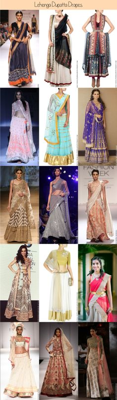 Dupatta style drapes ranging from the basic, to trendy to bridal dupatta drapes! There is a style for everyone and every lehenga style. Indian Attire, Indian Wear, Ethnic Fashion, Indian Fashion, Indian Dresses, Indian Outfits, Duppata Style, Lehenga Dupatta, Anarkali Suits