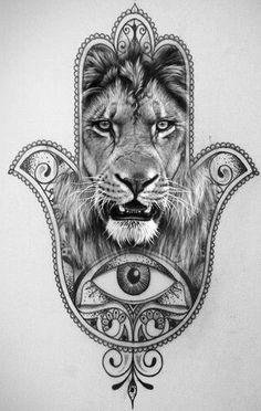 Mandala Tattoo Hamsa Lion Cat Tattoos Tatoos Flash Fatima Hand Designs Ideas
