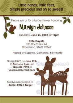 Willow Deer Baby Shower Invitation forest