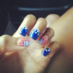 Olympic Nail Art great for the olmpics and the 4th of july