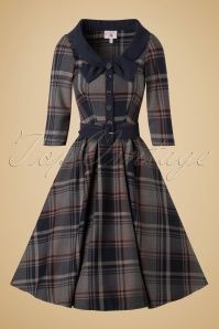Miss Candyfloss Navy Tartan Swing Dress 102 39 19340 20161025 0031w