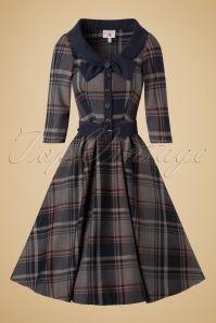 Miss Candyfloss Navy Tartan Swing Dress 102 39 19340 20161025 0031w