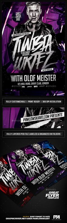 Electro DJ Concert Flyer Template  - Clubs & Parties Events