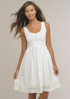 Today my post is unfolding simple, elegant and stylish white casual summer dresses! Rich, trendy, stylish and stunning ankle white casual summer dresses White Sundress, White Dress Summer, Eyelet Dress, Casual Summer Dresses, Trendy Dresses, Cute Dresses, Winter Dresses, Party Dresses, Wedding Dresses