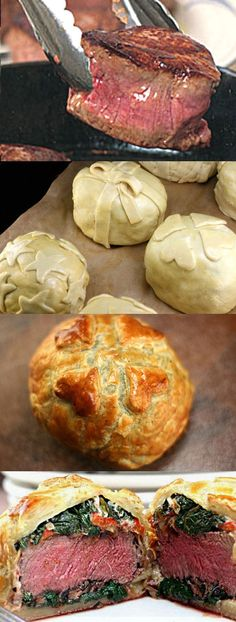Recipe for Individual Beef Wellingtons with Mushroom, Spinach, Cheese, and Roasted Pepper Filling. Decorate them like little gifts for the holidays! #recipe