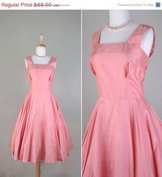 SALE Vintage 1950s Dress // 1960s Coral Pink Silk Blend Dress // small medium