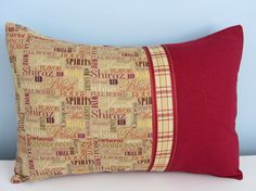 Wine country pillow cover. 12x16 lumbar. Red by SterlingStitchery