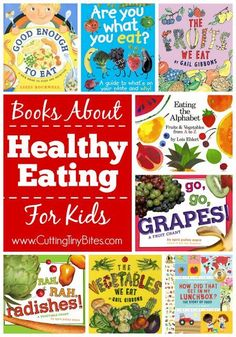 Books about healthy eating for kids. These books feature bright and colorful fruits and vegetables. They may be just the thing to encourage your toddler, preschooler, or kindergartener to try something new for dinner tonight!